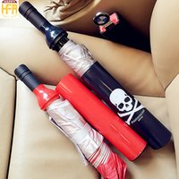 Wholesale Wine Accessory Wholesale - Umbrellas Fashion Design Umbrellas Umbrella Accessories Antique Wine Bottle Design Waterproof Bottle Black Red Colors