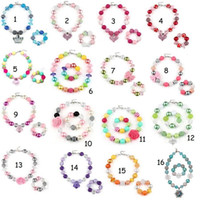 Wholesale Colorful Beads Bracelet - Baby Beads Bubblegum Necklace Jewelry Kids Colorful Pearl Bead Necklace + Bracelets Girls Party Jewelry Accessories Over 20style choose free