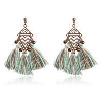 Wholesale Rhombus Beads - Fashion Rhombus Wave drop earrings 4 colors tassel Beads Dangles Earrings for Women Bohemia Retro Jewelry for Party Wedding Gift