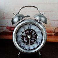 Wholesale Twin Bell Alarm Clocks - Wholesale-Unique Classic Metal Alarm Clock Roman Numerals Gear Twin Bell Clock Fashion Europe Home and Office Decor Desk Clock