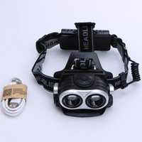 Lampada esterna da campeggio 10000Lm 2x T6 LED Zoomable Luce zoom carica USB Headlamp Black Torch Outdoor Tools