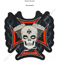 Wholesale Free Shipping Iron Patches - SKULL ON IRON CROSS & PISTONS Embroidered Iron On Sew On Patch Rock Band COSTUME PATCH EMBLEM, Free shipping