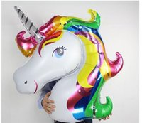 Wholesale Fly Advertising - New Cteative Large Size 87*117cm Balloons Happy Birthday Fly Horse Large Toys Inflatable Animal Foil Balloons Unicorn Party Decoration Suppl