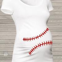 Wholesale Pregnancy Plus - Summer Funny Baseball Pregnancy T Shirt Pregnant T-shirt Maternity Clothes Vetement Rigolo Femme Enceinte Women Tees Plus Size