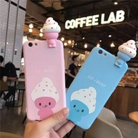 Wholesale Ice Cream Case For Iphone - Luxury 3D Lovely Cartoon Ice Cream Phone for IPhone for iphone 7 7 Plus Funny Case for iphone 6 6s Plus Cases Soft TPU Back