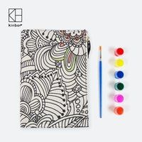 Wholesale Diary Book Flower - Wholesale- DIY Flowers Canvas Coloring Cover Diary Notebook Acrylic Painting Set Organizer Planner Korean Adult Coloring Book