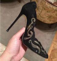 frauen weiße sandalen strasssteine großhandel-2017 glitter strass schuhe frauen Cinderella pumpen zeigen zehe high heels weiße hochzeit schuhe air mesh gladiator sandalen