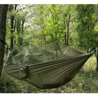 Wholesale Portable High Strength Parachute Fabric Camping Hammock Hanging Bed With Mosquito Net Sleeping Hammock outdoor hammock