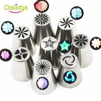 Wholesale Tulip Shaped Mold - Wholesale- 1 pcs 8 Shapes Cake Russian Nozzle Tulip Stainless Steel Baking Nozzle Mold Cupcake Piping Nozzles Russian Rose Nozzles Tips