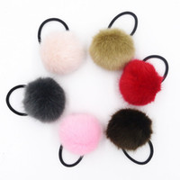Wholesale Elastic Hair Bands Ball - Wholesale-Elastic Women Girls Pompom Ball Hairband Rope Ring Hair Band Scrunchie Ponytail Holder Hair Accessories Party Gift