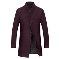 ingrosso cappotto di lana da uomo coreano-All'ingrosso-Spedizione gratuita Autunno e inverno cappotto di lana da uomo nuovo stile coreano Slim cappotto di lana maschile di lana spessa Windbreaker 140yw