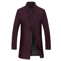 Wholesale Korean Style Wool Coat - Wholesale- Free shipping Autumn and winter new men's wool coat Long Korean style Slim woolen coat male Wool thick Windbreaker 140yw