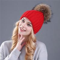 Wholesale Orange White Crochet Hats - Women Spring Winter Hats Beanies Knitted Cap Crochet Hat Rabbit Fur Pompons Ear Protect Casual Cap Chapeu Feminin