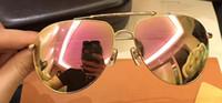 Wholesale Sunglasses Luxury Original Box - Top quality luxury fashion 0592 women's sunglasses aviator frame rose gold lens design men's hot lady design UV400 lens with original Box