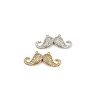 Wholesale Mustache Jewelry Rhinestone - New arrival unique large rhinestone mustache jewelry connector charm in bright silver trendy beading for necklace bracelet BMW00578