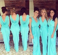Wholesale Aqua Beach Bridesmaid Dresses - 2017 Cheap New Summer Beach Bohemian Bridesmaid Dresses Aqua V Neck Pleats Chiffon Maid of Honor Boho Custom Made Flow prom Guest Gowns