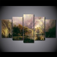 5 Pcs / Set Framed HD Printed Landscape Sight Mountain Picture Decoração para casa Canvas Decorative Pictures Oil Painting