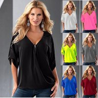 Wholesale Top Brand Blouses - Women T Shirts Summer Loose Tops Fashion Short Sleeve Shirts Zipper V-Neck Blouse Solid Casual Sexy Blusas Plus Size Women's Clothing B2323