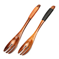 Wholesale Japanese Tooth - Japanese Style 3 Teeth Wood Forks for Fruit Desserts Cake Chips Snacks Salad Wooden Forks Wood Utensil Flatware Kitchen Accessories