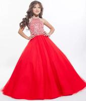 küçük kırmızı elbise düğün toptan satış-Yeni 2018 Çiçek Kız Elbise Düğün Balo Kırmızı Organze Boncuk Kat Uzunluk Küçük Kızlar Pageant Elbiseler Ücretsiz Kargo CS005