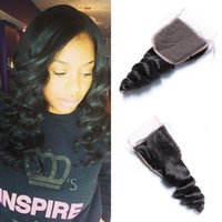 Free Part Lace Closure 4x4 Loose Wave Peruvian Human Hair Closure Piece Bleached Knots com cabelo de bebê Natural Black Color FDSHINE
