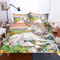 Wholesale Cheap Animal Bedding - Cheap 3D Bedding Sets 4pcs Unicorn Pattern Design Printed Comforter Sets Queen Size Duvet Cover Bed Sheet free shipping