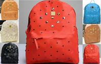 Wholesale Punk Skull Rivet Shoulder Handbag - Hot Selling Punk Rivet Backpacks Men Schoolbag Handbags Women Leather Shoulders Bag Men Bag Free Shipping Designer Handbag