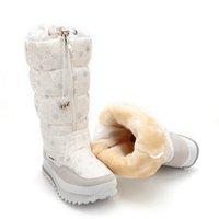 белые туфли для девочек оптовых-Зимние Высокие Женщины Снег Сапоги Плюшевые Теплые Леди Обувь Легко Носить Молнии Девушка Белый Цвет Цветок Теплые Сапоги. XDX-002