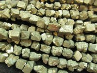 Wholesale Pyrite Necklace - 2strands Pyrite Stone Gold Pyrite Crystal Nuggets,Freeform Cube Box Pyrite Necklace 6-20mm