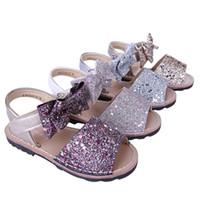 sevimli kız ayakkabıları yaylar toptan satış-Pettigirl Yeni Kız Yaz Partisi Sevimli Bow Bling Bling Kız Sandalet SEQUINE Çocuk Ayakkabı A-KSG005-03 Hayır Ayakkabı Kutusu Ayakkabı