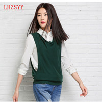 Wholesale Knitted Sweater Vest Korean - Wholesale-2016 spring New female Korean Cashmere wool turtleneck sleeveless vest knitted blouse Sweater vest waistcoat Fashion wild