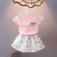 Wholesale Two Piece Letter Dress - 2017 new arrival korean style children girl summer dress short sleeves two-pieces dress for 2-5 years old baby