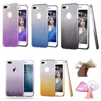 Para Iphone 8 X Hybrid Gradient Glitter Bling Shiny Cover 3in1 Colorful Case para LG Stylo3 Coolpad 3622A / 3623 ZTE Zmax pro DHL grátis SCA320