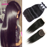 Wholesale european remy human hair for sale - Brazilian Straight Virgin Hair Weaves Bundles with Lace Closures A Grade Unprocessed Malaysian Peruvian Indian Cambodian Remy Human Hair