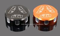 housse de moto noire achat en gros de-Couvercle de capuchon de réservoir de liquide de pompe de frein arrière de moto modifié pièces orange noir pour KTM Duke 690 Endure R SMC / R Supermoto LC4