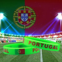 Wholesale Gift Football World Cup - Portugal National Flag Design Bracelets Football World Cup 100% Silicone Gel Wristband Gym Fitness Energy Bracelets For Fans