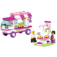Wholesale Truck Brick Toy - 1 Set Girl Series Food truck Friend Outdoor Snack House Kids Toy Building Blocks Sets Model Toys Brick