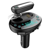 bluetooth radyo adaptörleri toptan satış-Kablosuz Bluetooth Araç Kiti Handsfree FM Verici Araba Radyo Adaptörü Çift USB Şarj Bluetooth Kulaklık Desteği TF Kart MP3 Müzik Çalma