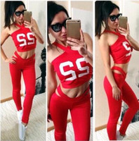 Wholesale Sexy Women S Sports Jerseys - European fashion women's sexy letter print PINK crop top bustier vest and leggings tights sport yoga dancing twinset tracksuits
