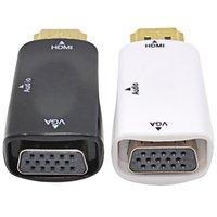 convertidor vga hd al por mayor-Cable de convertidor de HDMI a VGA WholeSale con cable de audio Soporte HD 1080P para PC portátil Envío gratis