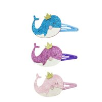 Wholesale Shinny Fabric - Adorable Prince Whale Hair clips shinny Glitter hair accessory set