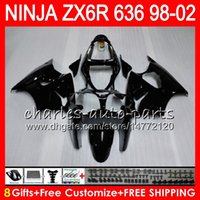 Wholesale Gloss Black Kawasaki Zx6r Fairings - 8Gifts For KAWASAKI NINJA ZX6R 98 99 00 01 02 ZX636 ZX-6R ZX-636 31HM4 600CC ZX 636 gloss black ZX 6R 1998 1999 2000 2001 2002 Fairing kit