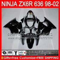 Wholesale Zx6r Fairing 98 - 8Gifts For KAWASAKI NINJA ZX6R 98 99 00 01 02 ZX636 ZX-6R ZX-636 31HM4 600CC ZX 636 gloss black ZX 6R 1998 1999 2000 2001 2002 Fairing kit