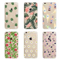 Wholesale Hard Case Leaves - Cartoon Exquisite Cactus Green Leaves Clear Hard Plastic PC Cell Phone Case for iphone 8 7 6S Plus 5S 5C 4S Back Cover