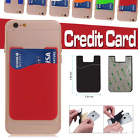 Wholesale Cases For Android Note - Self Adhesive Credit Card Wallet Slim Universal Silicone Card Set Card Holder Case Cover For Android iPhone X 8 7 plus Samusng Note 8