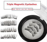 Wholesale Natural Hair Eye Lashes - Newest Triple 3D Magnetic Eyelashes Magnet Magnetic Lashes False Eyelashes Magnetic Eye Lashes Makeup Kit Gift