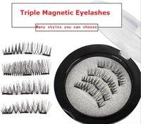 Wholesale Hand Made False Eyelashes - Newest Triple 3D Magnetic Eyelashes Magnet Magnetic Lashes False Eyelashes Magnetic Eye Lashes Makeup Kit Gift