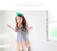 Wholesale Vertical Stripe Style - Big Girls dresses 2017 summer new vertical stripe bow princess dress korean style kids round collar short sleeve falbala party dress T0809