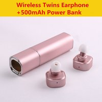 Wholesale Cute Silver Earphones - K2 Twins Earphone Mini true Wireless Bluetooth earbuds Cute Dual Headsets Power Bank Charge for Smart Phone