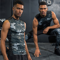 Wholesale Bodybuilding T Shirts Mens - Gym Sport Breathable Quick Dry Compression Shirt Camouflage Crossfit Shirt Fitness Mens Sleeveless Casual Tights Bodybuilding T-Shirt Tops